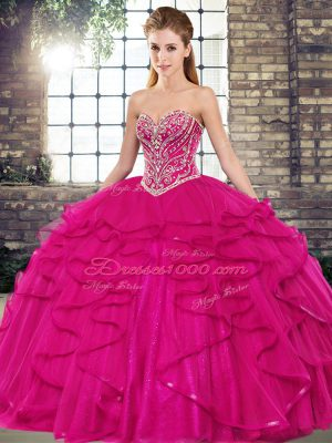 Tulle Sweetheart Sleeveless Lace Up Beading and Ruffles Quince Ball Gowns in Fuchsia