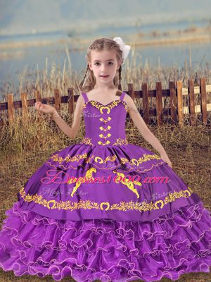 Eggplant Purple Straps Neckline Beading and Embroidery and Ruffled Layers Pageant Gowns For Girls Sleeveless Lace Up