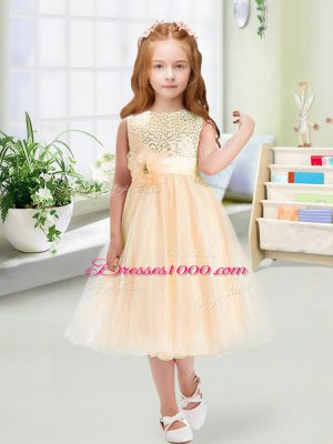 Cute Tea Length Champagne Flower Girl Dresses for Less Organza Sleeveless Sequins and Hand Made Flower