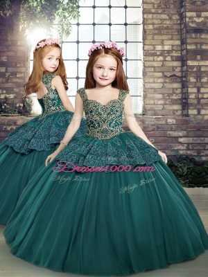 Fashion Ball Gowns Little Girl Pageant Gowns Teal Straps Tulle Sleeveless Floor Length Side Zipper