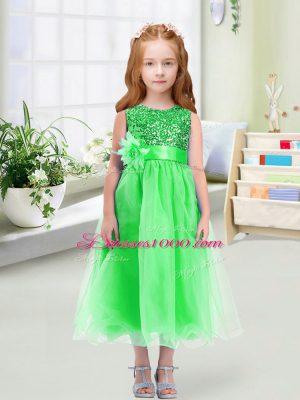 Scoop Sleeveless Flower Girl Dress Tea Length Sequins and Hand Made Flower Green Organza