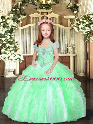 Straps Sleeveless Little Girl Pageant Dress Floor Length Beading and Ruffles Tulle