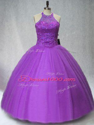 Floor Length Purple Quinceanera Dresses Tulle Sleeveless Beading