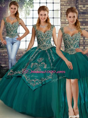 Teal Lace Up Straps Beading and Embroidery Quinceanera Gowns Tulle Sleeveless