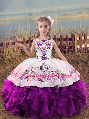 Floor Length Ball Gowns Sleeveless Purple Little Girls Pageant Dress Lace Up
