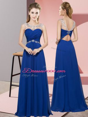 Sumptuous Sleeveless Floor Length Beading Backless Prom Dress with Royal Blue