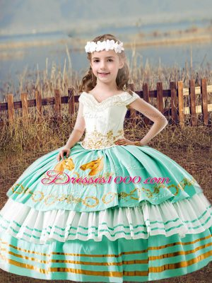 Inexpensive Satin Sleeveless Floor Length Kids Pageant Dress and Embroidery