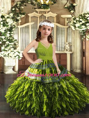 Olive Green Organza Zipper Little Girls Pageant Dress Sleeveless Floor Length Appliques and Ruffles