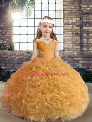 Gold Straps Neckline Beading Little Girl Pageant Gowns Sleeveless Lace Up