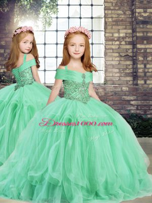 Most Popular Apple Green Straps Lace Up Beading and Ruffles Little Girls Pageant Gowns Sleeveless