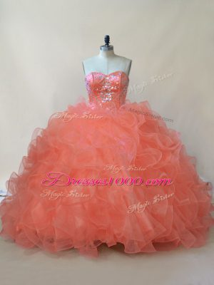 Sleeveless Lace Up Floor Length Beading and Ruffles Quinceanera Gowns