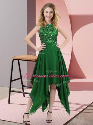 Dark Green Empire High-neck Sleeveless Chiffon Asymmetrical Zipper Beading and Sequins Prom Gown