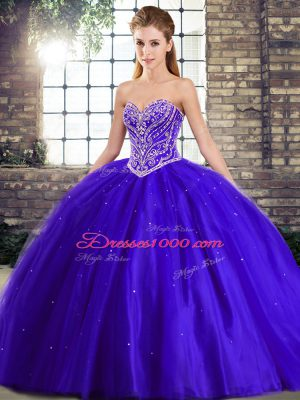 Custom Made Blue Tulle Lace Up 15 Quinceanera Dress Sleeveless Brush Train Beading