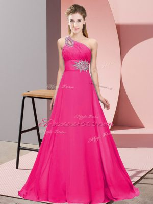 Empire Hot Pink One Shoulder Chiffon Sleeveless Floor Length Lace Up