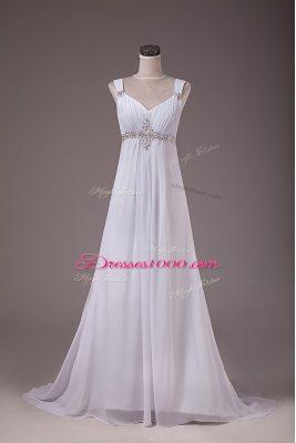 Adorable Sleeveless Brush Train Lace Up Beading Wedding Gown