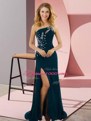 Flirting Beading Evening Dress Teal Lace Up Sleeveless Sweep Train