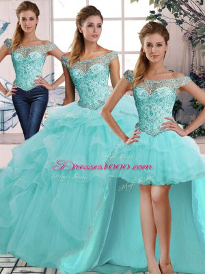 Charming Aqua Blue Tulle Lace Up Off The Shoulder Sleeveless Floor Length Sweet 16 Dress Beading and Ruffles