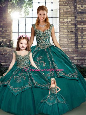 Teal Ball Gowns Beading and Embroidery Quinceanera Gown Lace Up Tulle Sleeveless Floor Length