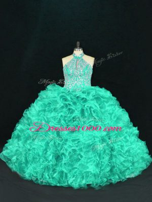 Floor Length Turquoise Quinceanera Dress Halter Top Sleeveless Lace Up