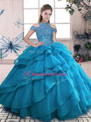 Fine Blue Ball Gowns Organza High-neck Sleeveless Beading and Ruffled Layers Floor Length Lace Up Sweet 16 Quinceanera Dress