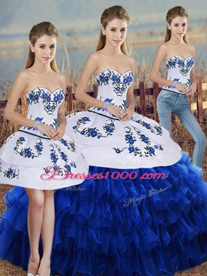 Modest Royal Blue Sleeveless Organza Lace Up Vestidos de Quinceanera for Military Ball and Sweet 16 and Quinceanera