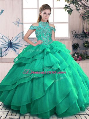 Turquoise Lace Up High-neck Beading and Ruffles Quinceanera Gowns Organza Sleeveless