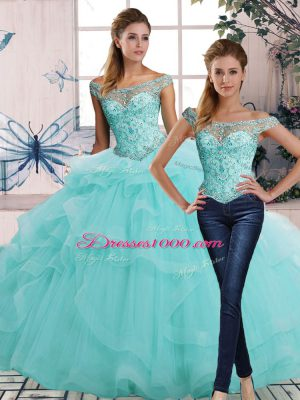 Aqua Blue Tulle Lace Up Off The Shoulder Sleeveless Floor Length Quince Ball Gowns Beading and Ruffles