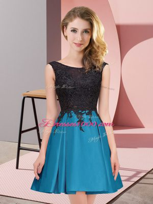 Clearance Teal Scoop Zipper Lace Vestidos de Damas Sleeveless