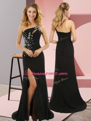Hot Selling Black Sleeveless Elastic Woven Satin Sweep Train Lace Up Prom Dresses for Prom and Party
