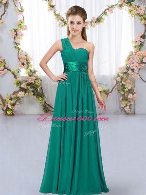 Peacock Green Empire Belt Quinceanera Dama Dress Lace Up Chiffon Sleeveless Floor Length