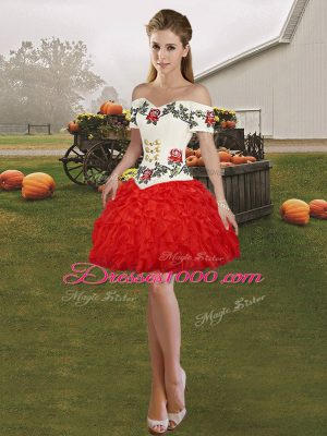 Adorable Red Sleeveless Organza Lace Up Homecoming Dress Online for Prom and Party