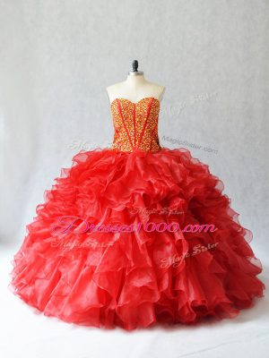 Sleeveless Organza Floor Length Lace Up Ball Gown Prom Dress in Red with Beading and Ruffles