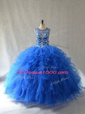 Charming Blue Side Zipper Quinceanera Dress Beading and Ruffles Sleeveless Floor Length