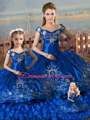 Royal Blue Lace Up Off The Shoulder Beading and Ruffles Quinceanera Gowns Satin and Organza Sleeveless