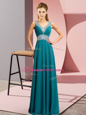 Beading Prom Party Dress Teal Lace Up Sleeveless Floor Length