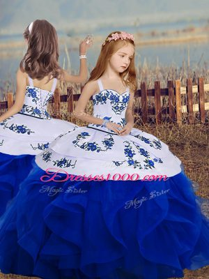 Royal Blue Sleeveless Embroidery and Ruffles Floor Length Kids Pageant Dress