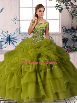 Olive Green Quince Ball Gowns Organza Brush Train Sleeveless Beading and Pick Ups