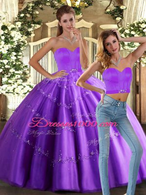 Eggplant Purple Ball Gowns Beading Quince Ball Gowns Lace Up Tulle Sleeveless Floor Length
