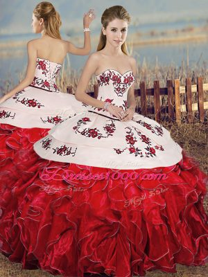 White And Red Ball Gowns Embroidery and Ruffles Ball Gown Prom Dress Lace Up Organza Sleeveless Floor Length