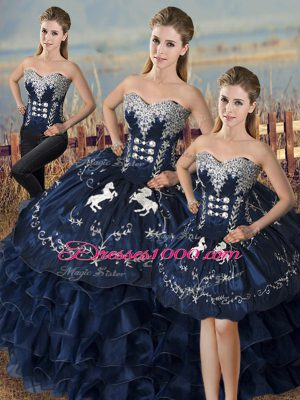 Low Price Navy Blue Three Pieces Organza Sweetheart Sleeveless Embroidery and Ruffles Floor Length Lace Up Sweet 16 Dresses