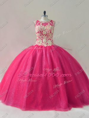 Graceful Scoop Sleeveless Lace Up Quinceanera Dresses Hot Pink Tulle