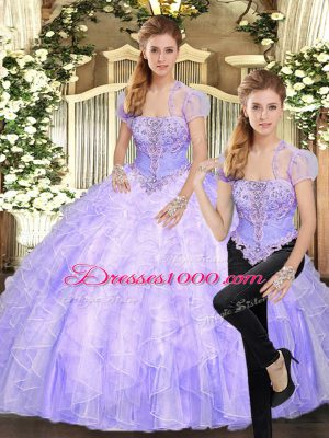 Two Pieces Quinceanera Dresses Lavender Strapless Tulle Sleeveless Floor Length Lace Up