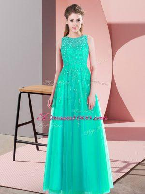 Turquoise Scoop Side Zipper Beading Homecoming Dress Sleeveless
