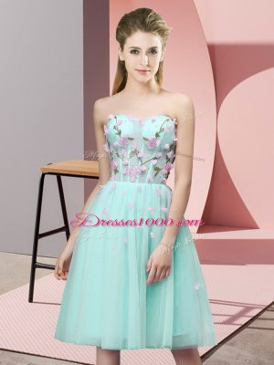 Best Selling Apple Green Empire Tulle Sweetheart Sleeveless Appliques Knee Length Lace Up Damas Dress