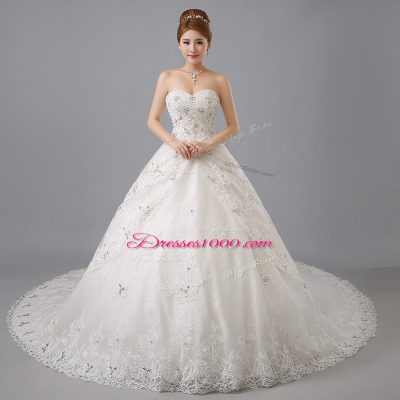 White Lace Up Bridal Gown Beading and Lace Sleeveless Chapel Train