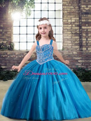 Straps Sleeveless Tulle Pageant Dress Wholesale Beading Lace Up