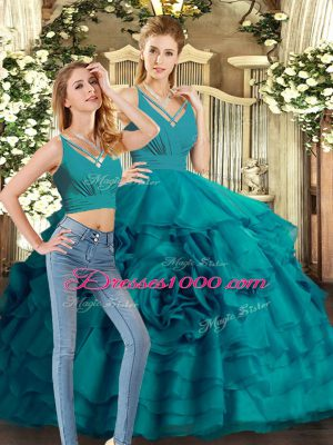 Teal Organza Backless V-neck Sleeveless Quinceanera Dresses Sweep Train Ruffled Layers