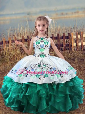 Exquisite Turquoise Sleeveless Embroidery and Ruffles Floor Length Pageant Dress for Teens