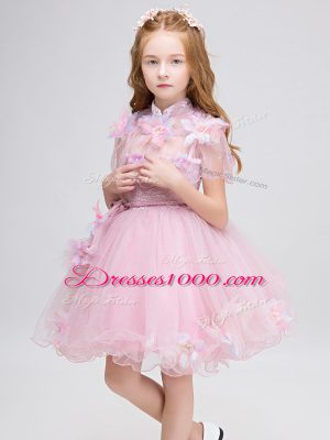 Baby Pink Ball Gowns Appliques Toddler Flower Girl Dress Zipper Tulle Short Sleeves Mini Length
