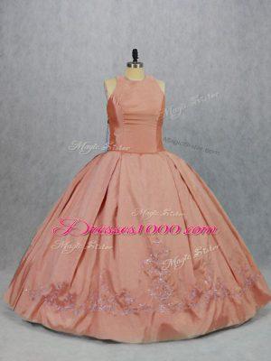 Adorable Peach Ball Gowns Embroidery Quinceanera Dress Zipper Taffeta Sleeveless Floor Length